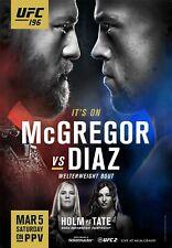 UFC 196 Event Poster Conor McGregor vs Nate Diaz - Holm vs Tate - 11x17 13x19