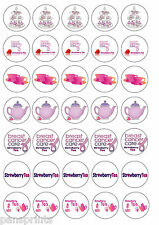 35x Strawberry Tea Cancer Support Cup Cake Toppers Edible charity
