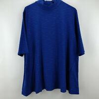 H by Halston Striped Slub Knit Mock Neck Top Catalina Blue 1X    A300844