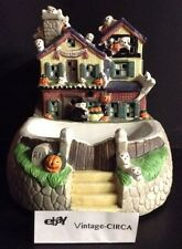 Animated HALLOWEEN Haunted House Ceramic Porcelain Bisque Candy Dish Bowl VTG