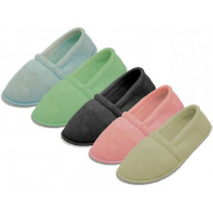 Women's Terry Close Back House Slippers Comfort Loafer Shoes, Sizes: S, M, L, XL