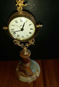 STUNNING 1970's Ritz  desk clock on onyx stand fully working