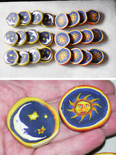 Full set of 24 handmade millifiori polymer clay game checkers, sun vs. moon