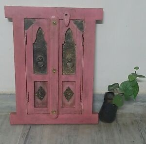 Hand painted wooden wall hanging window beautiful pink brass fitting jharokha