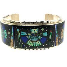 Handmade Thomas San Francisco Sterling Silver Kachina Micro Inlay Cuff Bracelet