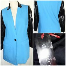 MARKS AND SPENCER LIMITED COLLECTION JACKET COAT 12 BLUE PVC ARMS COLLAR BNWT