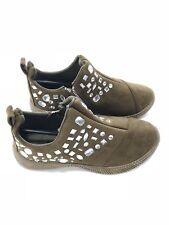 Rhinestone Side Zip Women's Sneakers Olive  Size 7