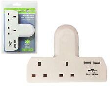 T-Shape Adapter Dual USB Charger Ports 2 Way Gang Extension Socket Mains Xmas