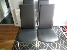 Kitchen chairs  x 4 Black & Chrome effect