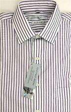 Geoffrey Beene Men's Cotton Blend Dress Shirt Eggplant Stripes Size L 16 32-33