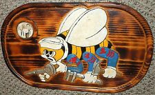 WW2 US Navy Seabees Hand Carved & Painted Insignia w/ Sailors' Photo, Trench Art