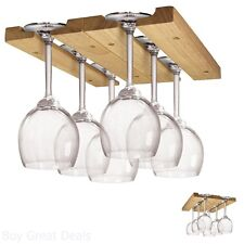 Under Cabinet Wood Wooden Wine Glass Holder Rack Adjustable Holder 6 Pieces New
