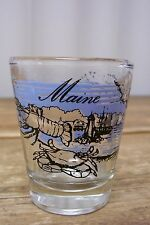 Maine Crab Lobster Shell Fish Clear Shot Glass Barware Bar Vintage