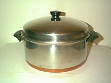 VINTAGE REVERE WARE SS COPPER CLAD 6 QT STOCK POT EXTRA LIP & DOMED LID ROME NY