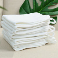 White Small Square Baby Kid Face Cotton Can Hang Towel Absorbent Washcloth LE
