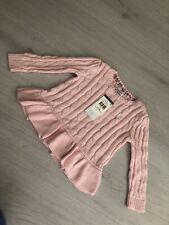 BNWT Ralph Lauren Girls Pink Cable Knit Frill Hem Knit Jumper - 24m