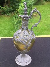 Antique 19th Large German metal + Glass Bottle Wine Decanter Jug cherub bacchus