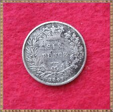 More details for 1841 victoria silver sixpence (6d) coin, see pics.