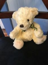 Harrods Department Store Knightsbridge Cream Teddy Bear Green Bow Plush Doll