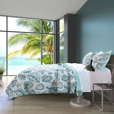 Quilt Bedding Set Twin Beach Theme Blue White Coastal Shell Comforter Bed Cover