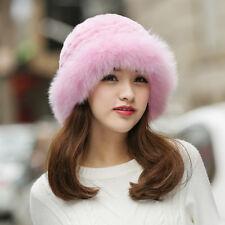 Women Winter Hat Real Knit Rex Rabbit Pink Fur Hat with Fox Fur Brim Bucket Cap