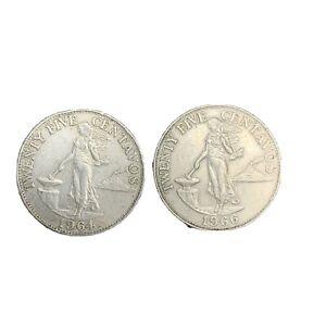 1964 1966 Phillipines 25 Centavos World Foreign Coin Nickel Brass KM 189