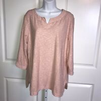Chico's Peach Tunic Top XL Slub Knit Textured Cotton Split Neck 3/4 Sleeves