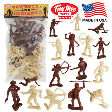 TimMee COWBOYS and INDIANS 40 Processed Plastic Western Figures Made in USA