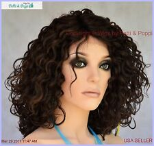Lace Front Curly Brown Wig Color FS4.30 Heat Friendly Sassy Hot USA Seller 264 B