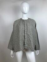 eskandar Brown White Check 100% Linen Button Front Blouse Shirt Size 1