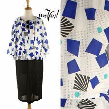 80s Peplum Vintage Dress - Bold Graphic Print New Wave Look - sz M/L - Hey Viv