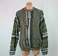 VTG 90s Protege Collection Cosby BIGGIE Chunky sweater Earth Tones Hip Hop XL