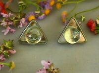 CLIP ON EARRINGS, vintage, triangles with balls