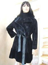 Women's Coats Jackets Fur Coats Vintage Black Lamb Mouton Belted Faux Coats  L