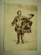 Aquarelle Ancienne Musicien Orgue Barbarie Dessin Signé Mareschal Art Forain
