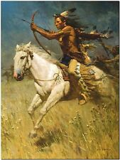 Native American Indian on Horse by Liang - Canvas Art Print  10x8""