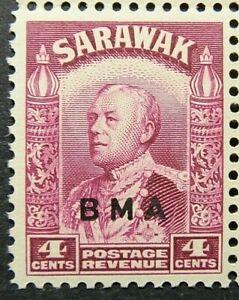 SARAWAK 1945 SG129 KGVI 4c. BRIGHT PURPLE - OVERPRINTED BMA  -  MNH