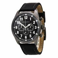 Szanto Men's Watch 2000 Series Vintage Inspired Chronograph Black Strap 2001