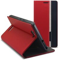 Coque Etui Folio Pour Wiko Getaway Monaco Design Rouge/Bleu