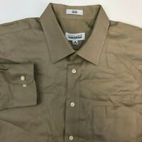 Joseph & Feiss Button Up Shirt Mens 18 34/35 Brown Non Iron Long Sleeve Casual