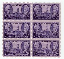 US Stamps 1946 #941 Tennessee Statehood 150th Anniversary 3c Pane (6) MNH