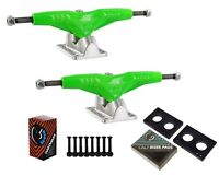 "Gullwing Pro III 9"" Silver Skate Trucks Pair + Cal 7 Hardware Riser Pads Set"
