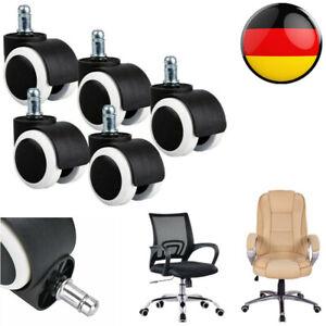 5X Rollen Hartbodenrollen Drehstuhlrollen 11mm 75mm Rollenset für Bürostuhl DE