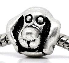 Dog Head Pet Puppy Long Ear Animal Bead for Silver European Style Charm Bracelet