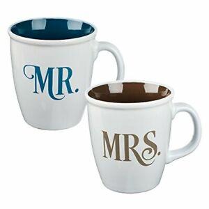 Christian Art Gifts Ceramic Coffee/Tea Mug Set for Couples | Mr. and Mrs. His