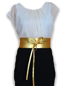 """VIKTOR SABO Handmade OBI GOLD Foil Lambskin For Waistline Up To 36""""/91.4 cm XL+"""