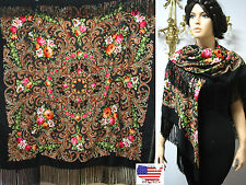 "Russian Ukrainian  Shawl Floral w/Fringes 55""/140cm Black Wool #102-5"
