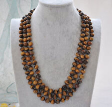 "BEAUTIFUL 8MM GENUINE TIGER'S EYE GEMS STONE ROUND BEADS NECKLACE 51"" AAA"