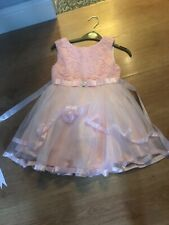 Girls Peach Christening Wedding Party Dress Worn Once Age 4