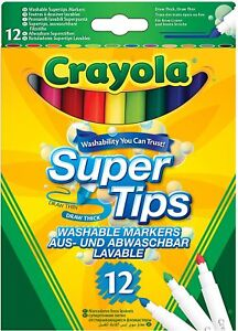 Crayola Supertips Washable Colouring Pens Super Tips Felt Tips (Pack of 12)